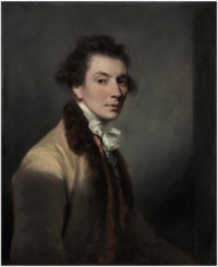 Portrait of Luke Gardiner, 1st Viscount Mountjoy (1745-1798), half-length, in a beige, fur-trimmed coat, white stock and striped red waistcoat