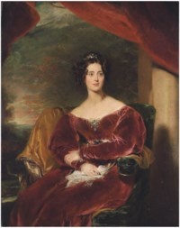 Portrait of Mary, Countess of Wilton (1801-1858), three-quarter-length, seated, in a red velvet dress with a brooch, a landscape beyond