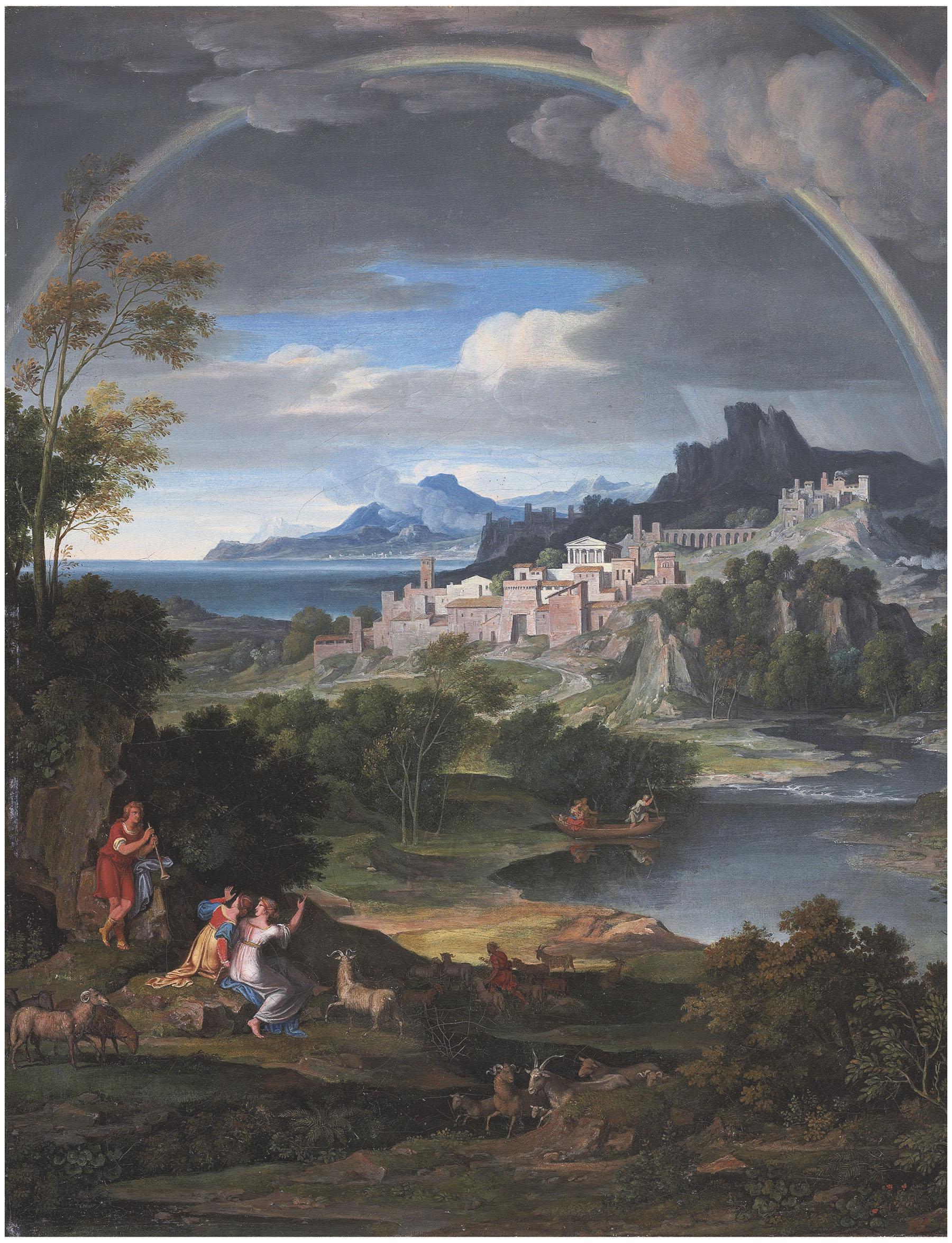 Heroische Landschaft mit Regenbogen