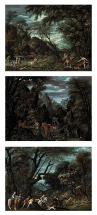 A wooded landscape with a deer hunt; A wooded, river landscape with the vision of Saint Eustace; and A wooded landscape with a boar hunt
