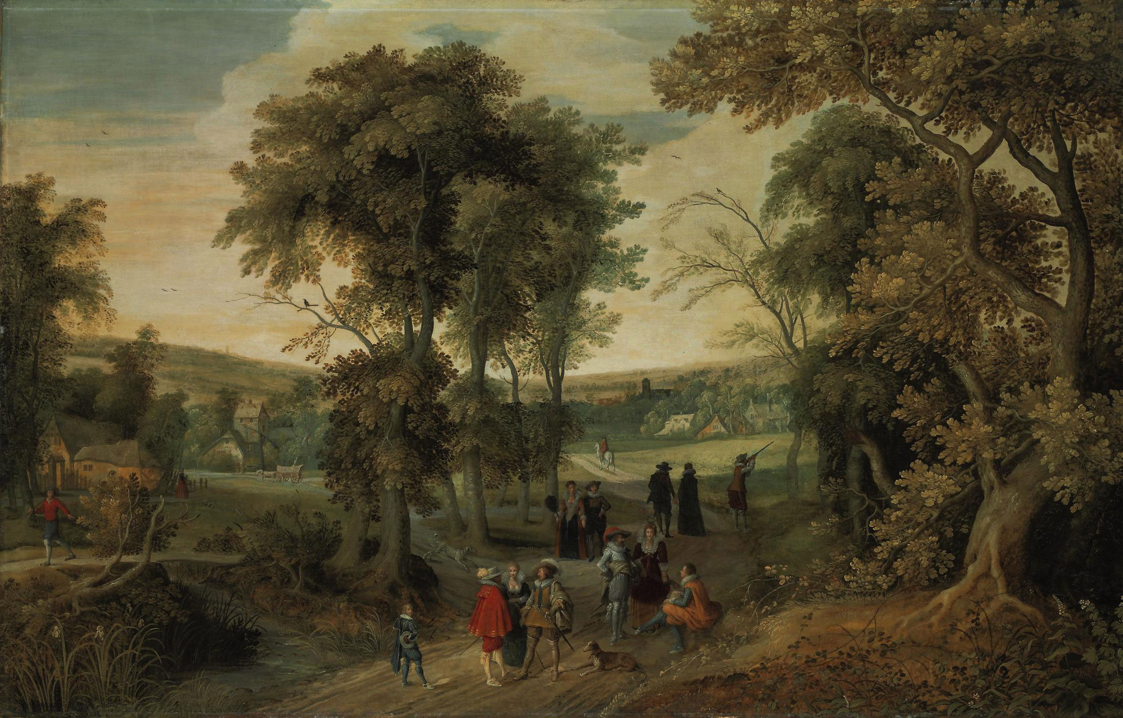 A wooded landscape with elegant figures riding, shooting and conversing, a village beyond