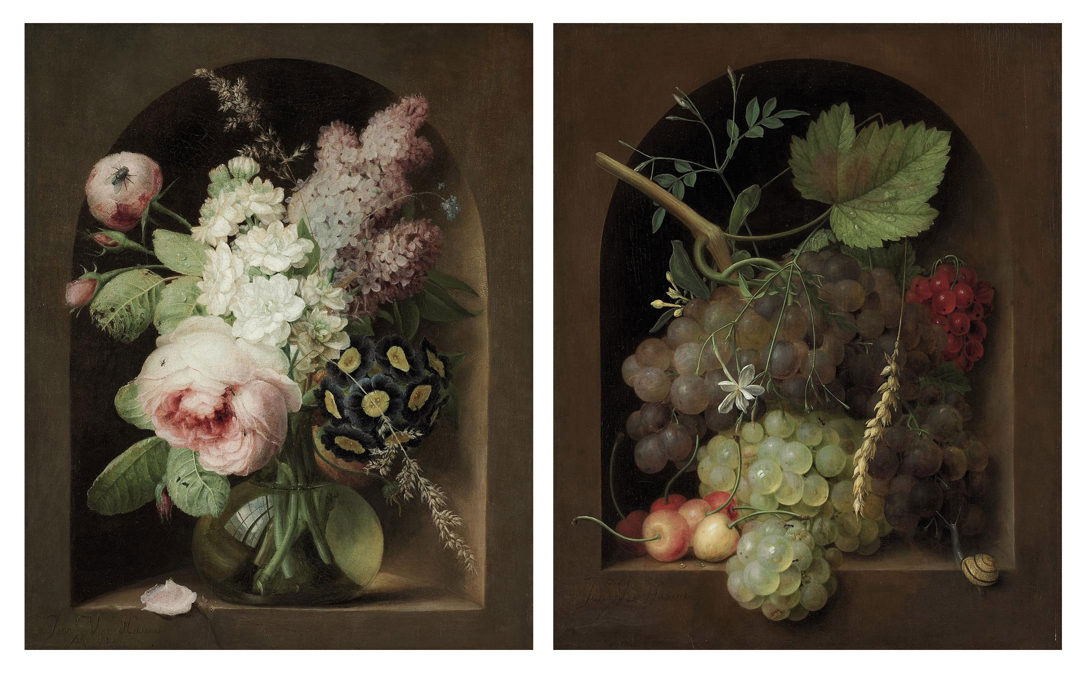Roses, hyacinth and other flowers in a glass vase in a stone niche; and Grapes, cherries and wheat with a snail in a stone niche