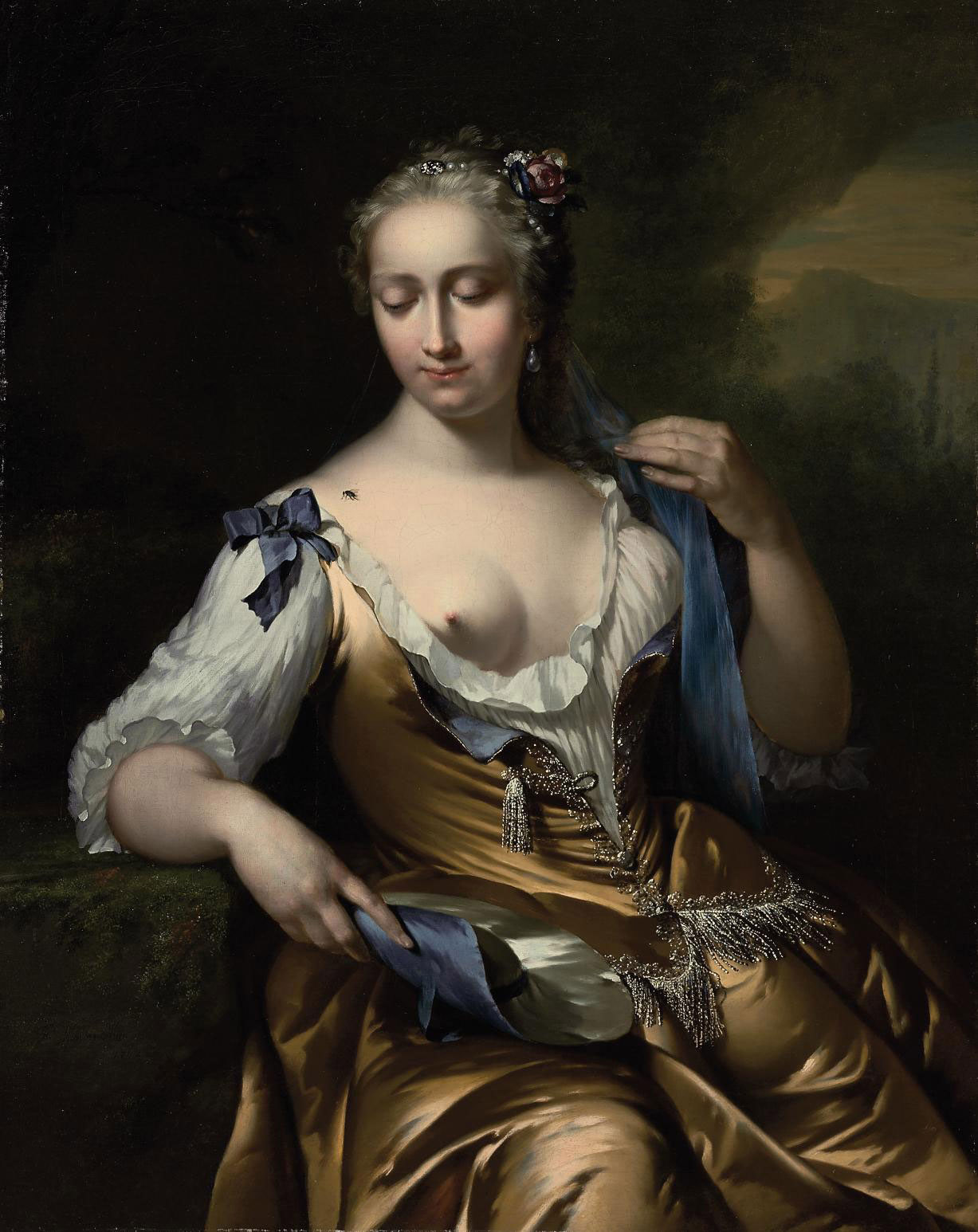 A lady in a landscape with a fly on her shoulder: an Allegory of Touch