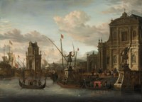 A capriccio of a Mediterranean harbour with a Dutch ship at anchor, a churchyard with a classical column on the embankment, figures descending to the beach the steps of a baroque church