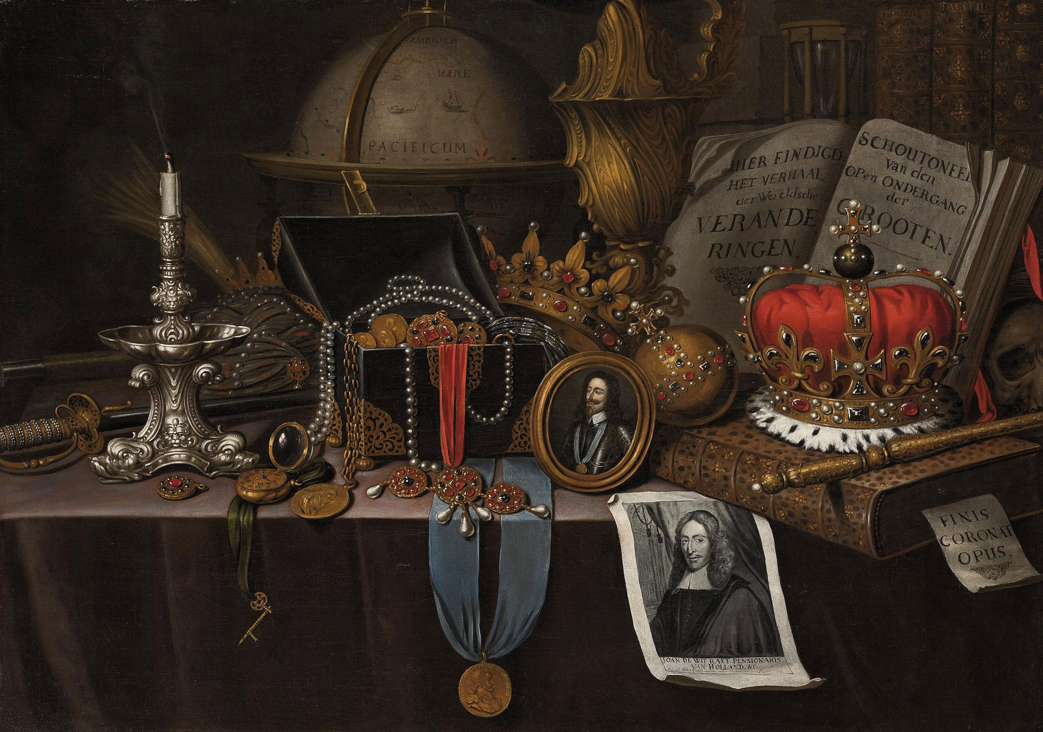 A Vanitas with a medallion of Henri IV of France, a candlestick, globe and other objects, on a draped table