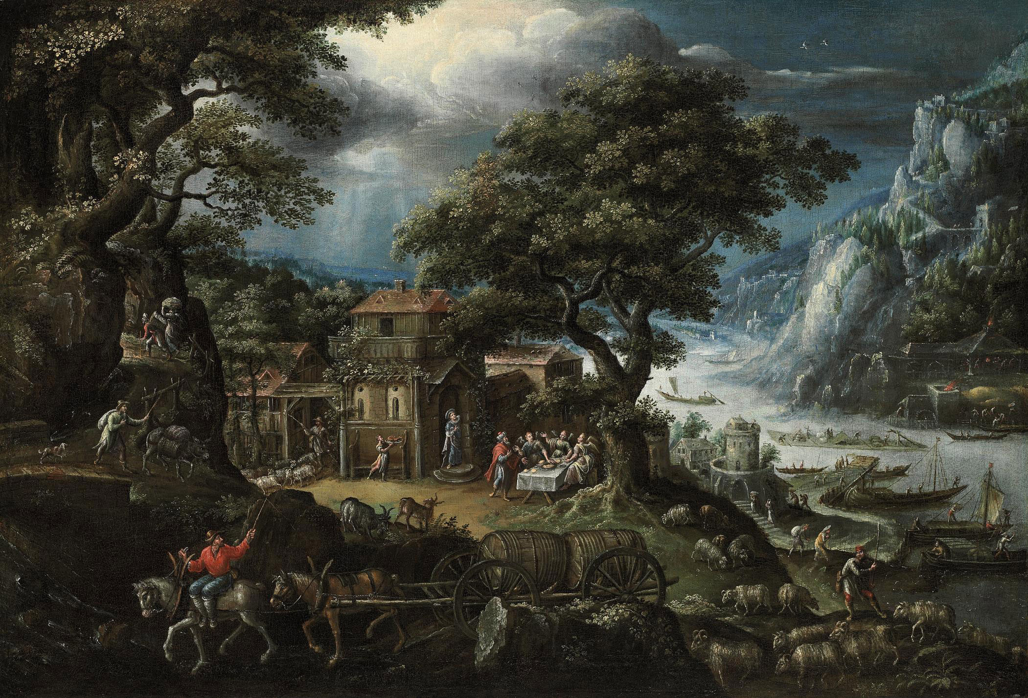 An extensive, mountainous, river landscape, with Abraham and the Angels