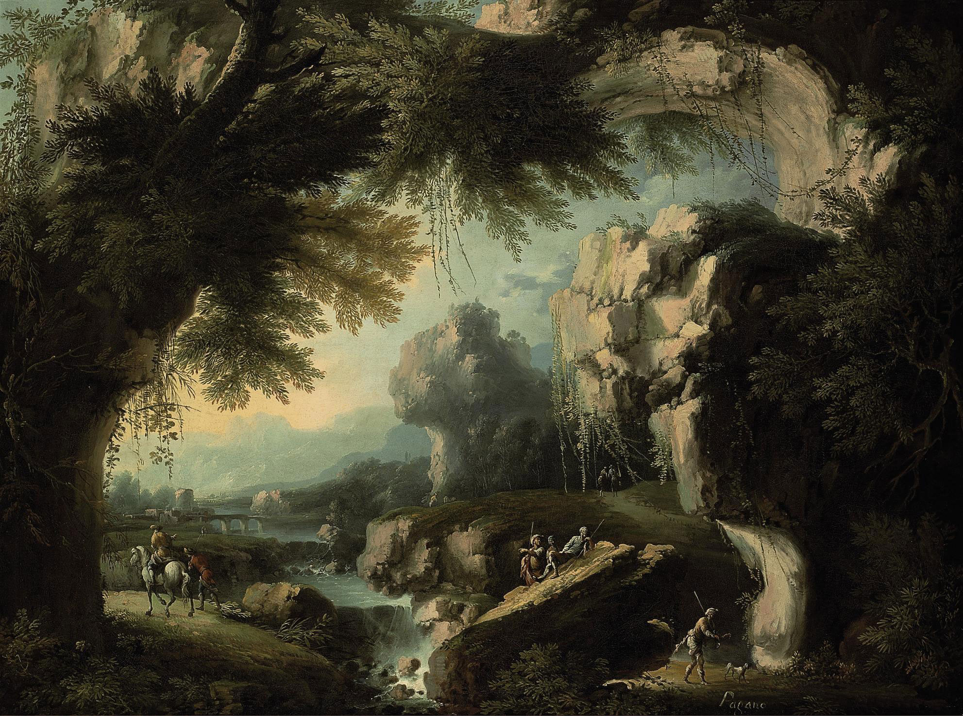 A classical landscape with a waterfall and figures