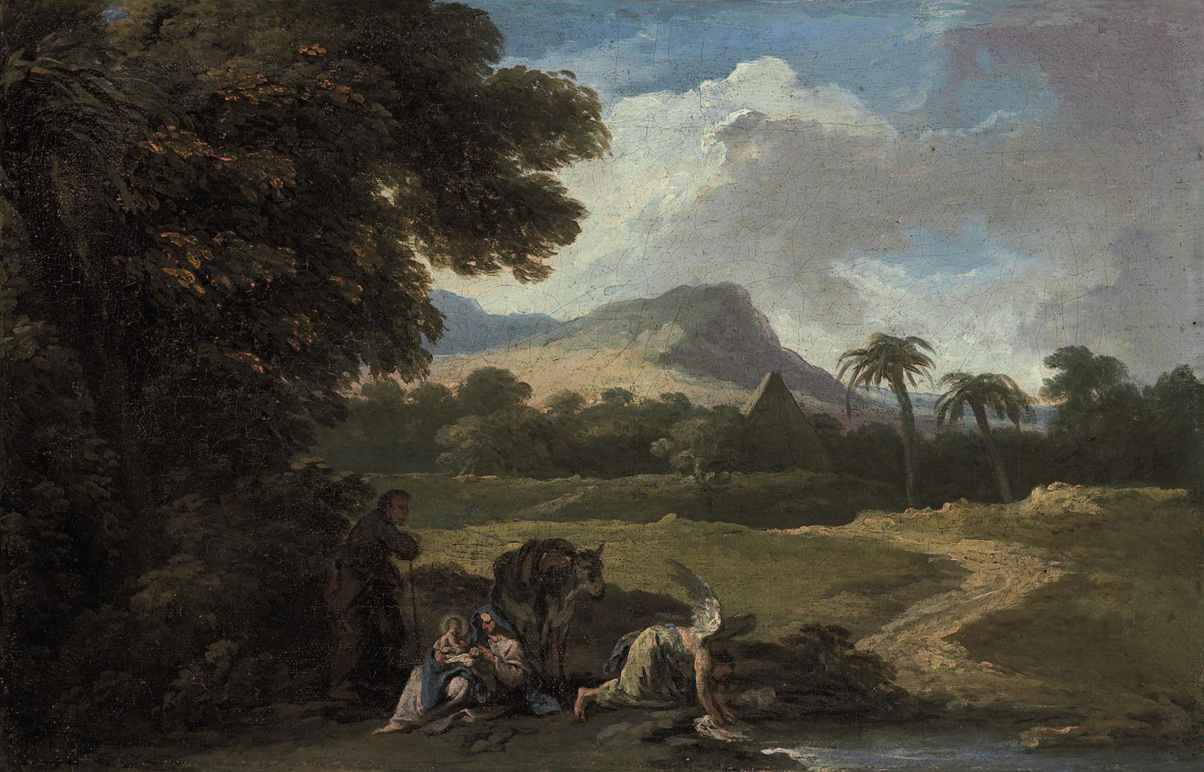 An exotic landscape with the Rest on the Flight into Egypt