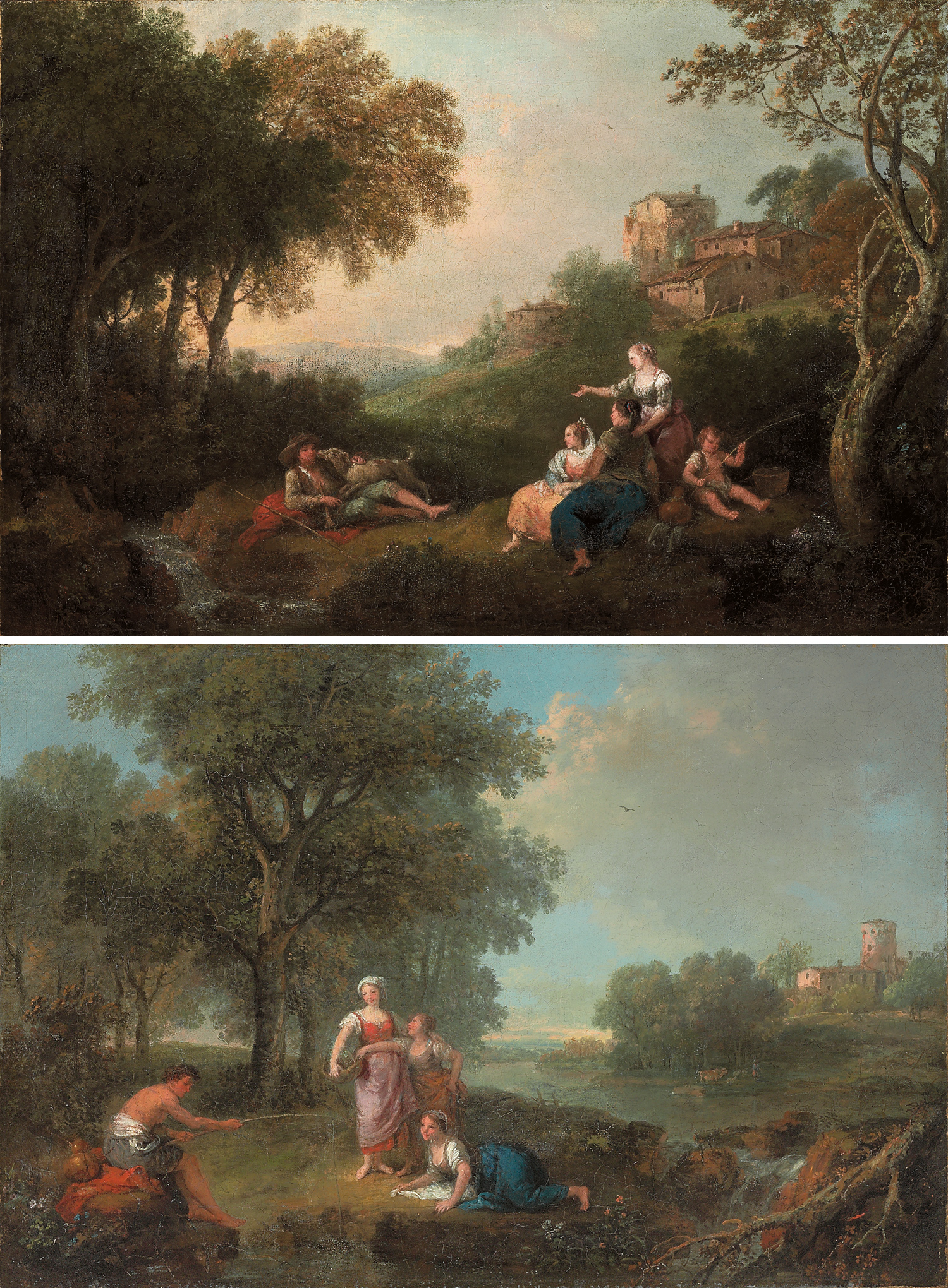 A wooded river landscape with figures resting and fishing, cattle watering at a river in the distance; and A wooded landscape with figures resting and fishing by a stream