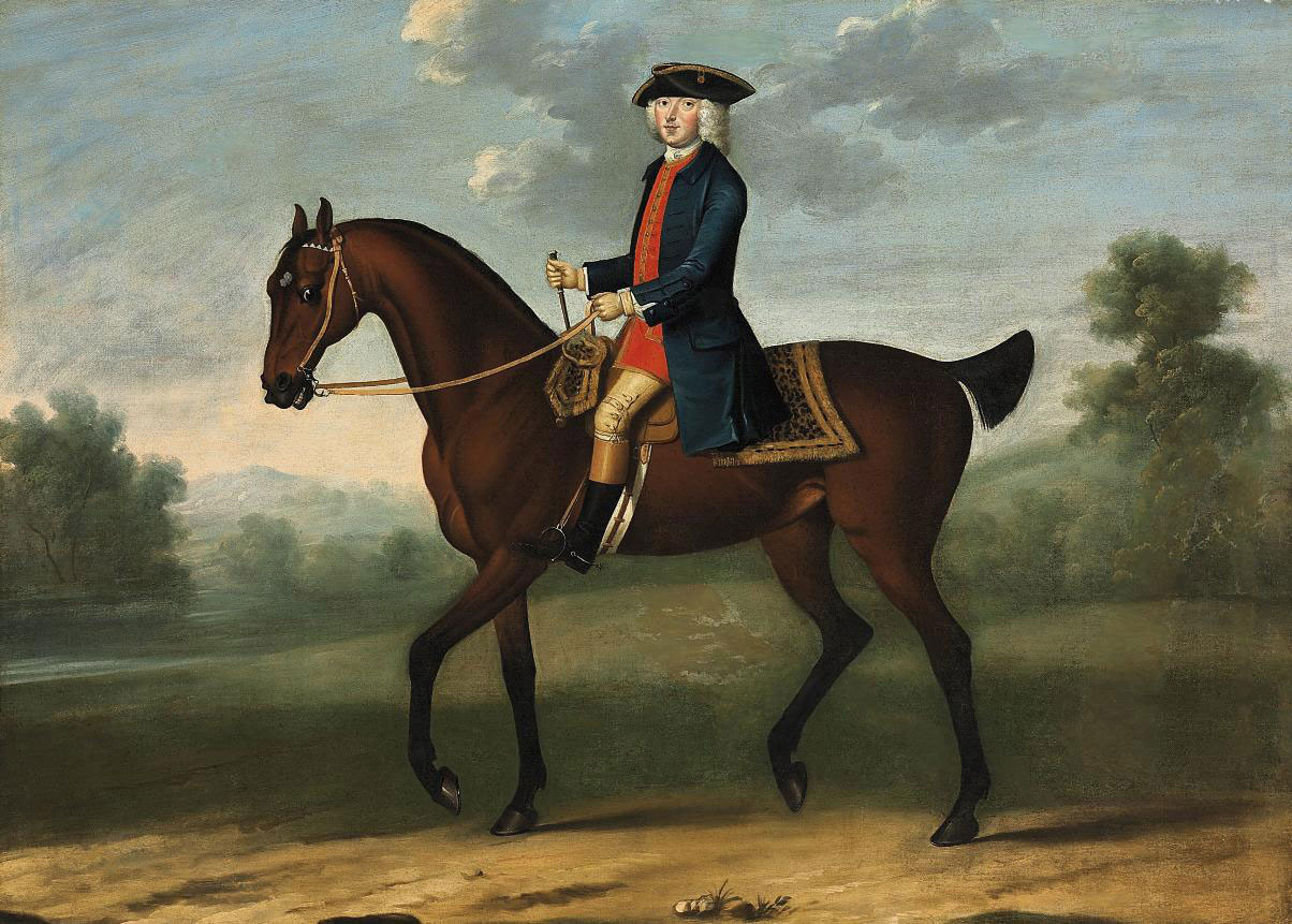Equestrian portrait of a gentleman, possibly William, 2nd Duke of Portland (1708-1762), in a landscape