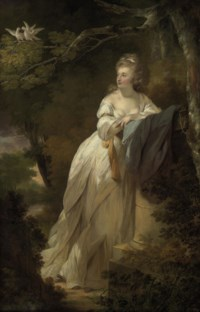Portrait of a lady, full-length, in a white dress, leaning on a pedestal by a tree with two doves