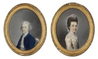 Portrait of a lady, half-length, in a floral dress with a lace headdress; and Portrait of a gentleman, half-length, in a blue coat and pale yellow waistcoat