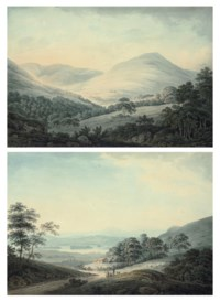 Glen of Luss near Loch Lomond, Scotland: cottages in a mountainous landscape, with Beinn Chaorach and Beinn Eich in the distance; and Woman and child with a shepherd, a lake and a valley beyond