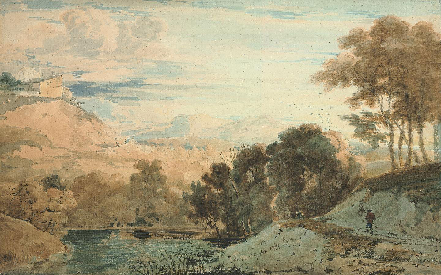 An angler by a wooded river in an extensive landscape, with buildings on a hill beyond