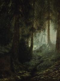 Deer in a forest landscape