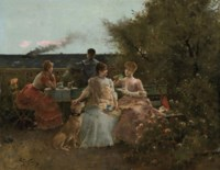 Ladies on a terrace, Normandy