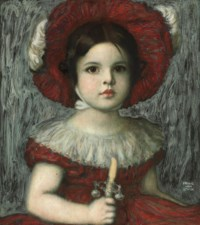 The artist's daughter Mary in a red hat
