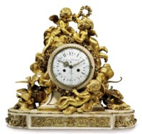 A FRENCH LARGE WHITE MARBLE AND ORMOLU STRIKING MANTEL CLOCK