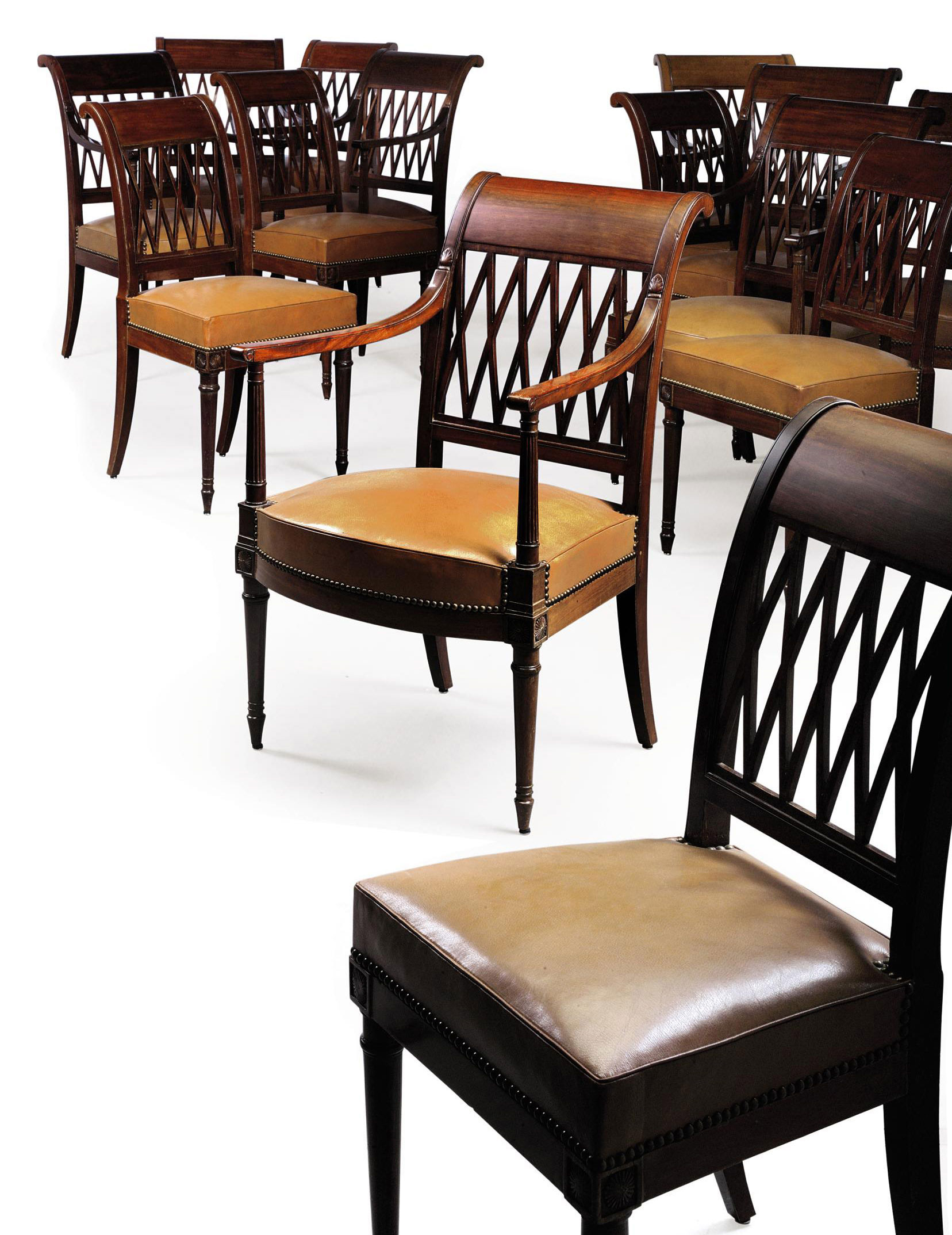 Outstanding A Set Of Fourteen Directoire Mahogany Dining Chairs By Pabps2019 Chair Design Images Pabps2019Com