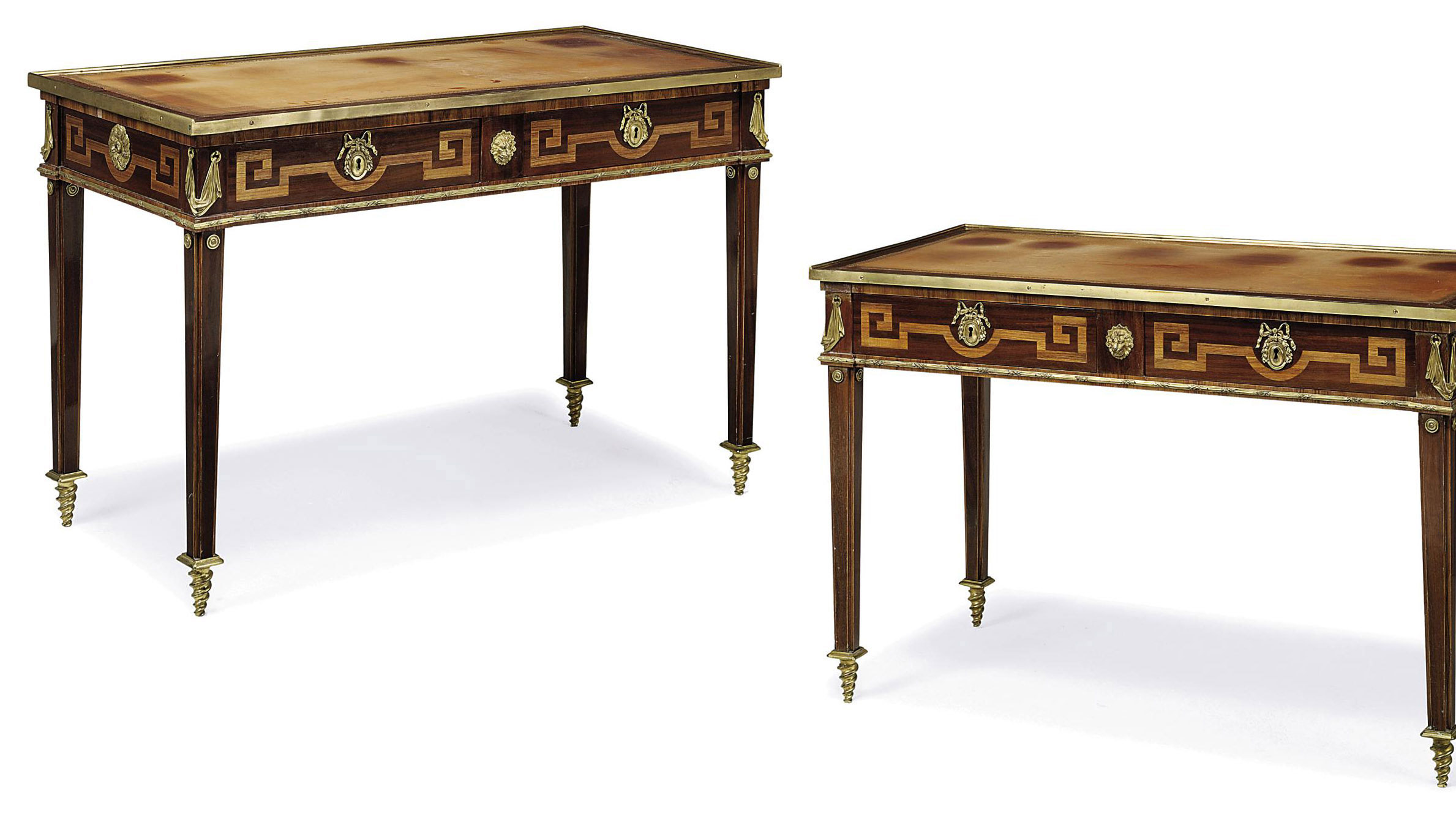A PAIR OF LOUIS XVI STYLE ORMOLU-MOUNTED MAHOGANY, KINGWOOD AND PARQUETRY TABLES À ÉCRIRE