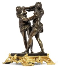 A BRONZE GROUP OF TWO WRESTLING WOMEN
