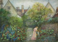 A lady in the garden at Kelmscott Manor, Gloucestershire