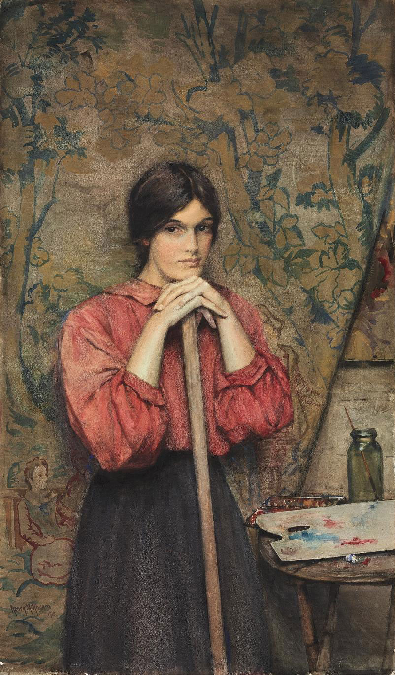 Study of a girl in the artist's studio standing before a tapestry
