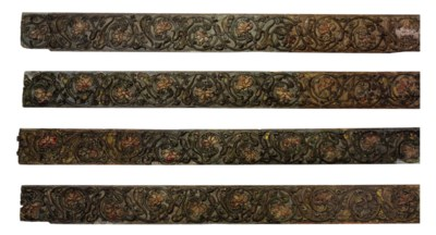 A SET OF FOUR MUGHAL CARVED WO