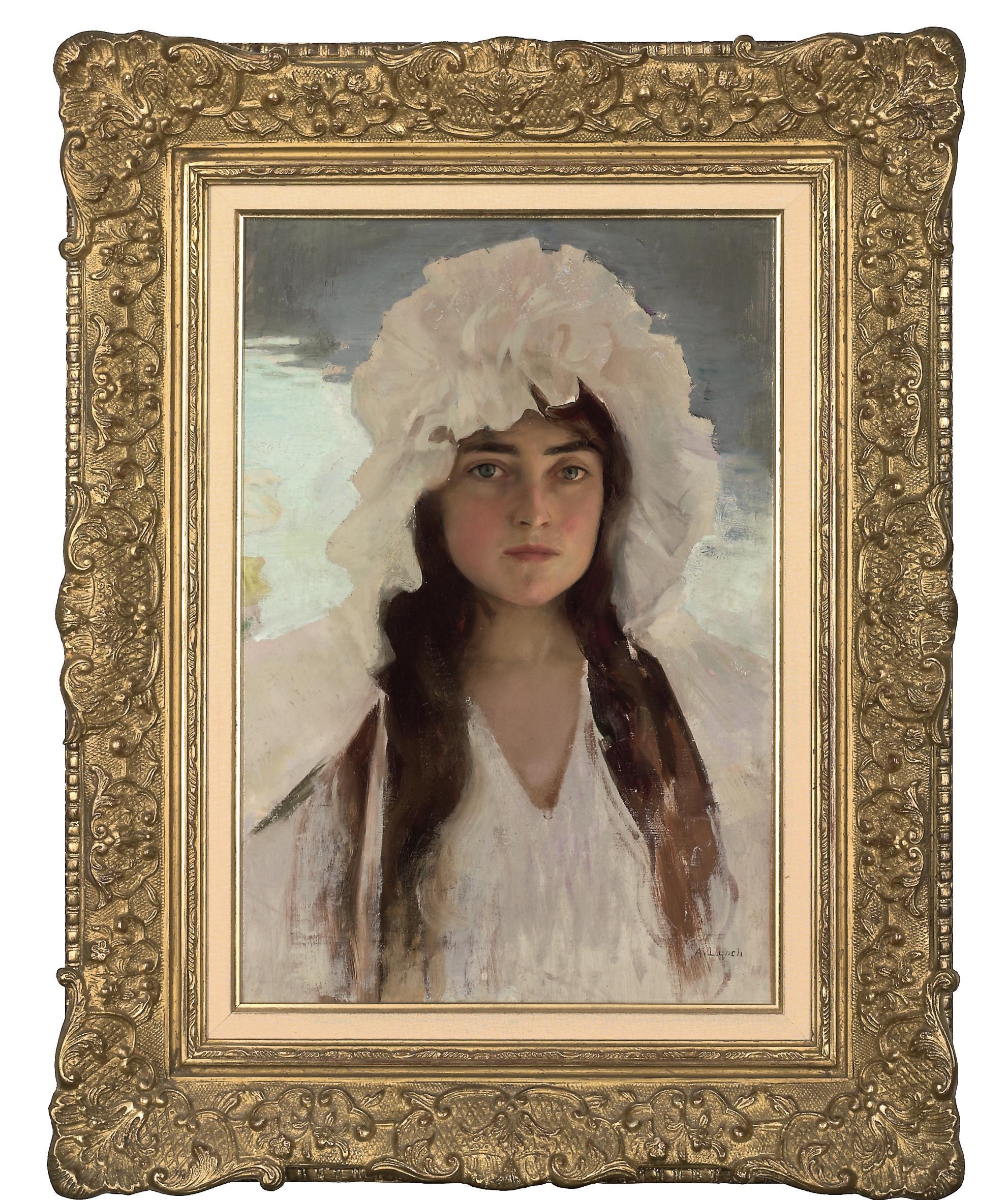 Portrait of a girl in a white bonnet