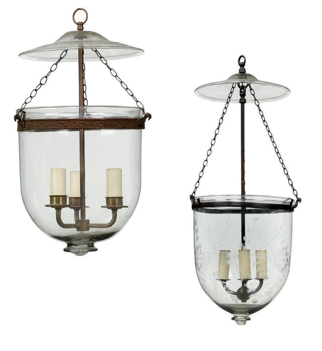 TWO GLASS THREE-LIGHT HANGING LANTERNS