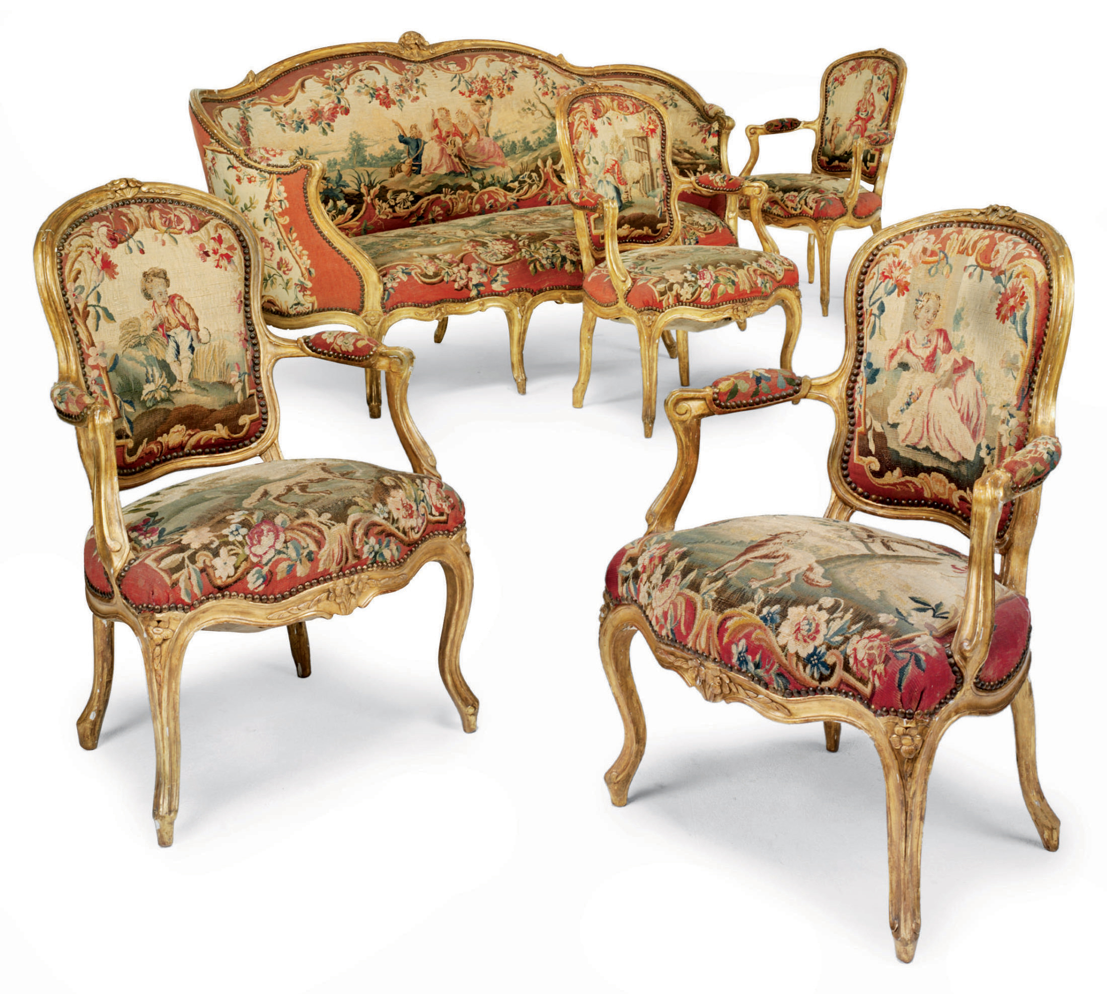 A SUITE OF LOUIS XV GILTWOOD A