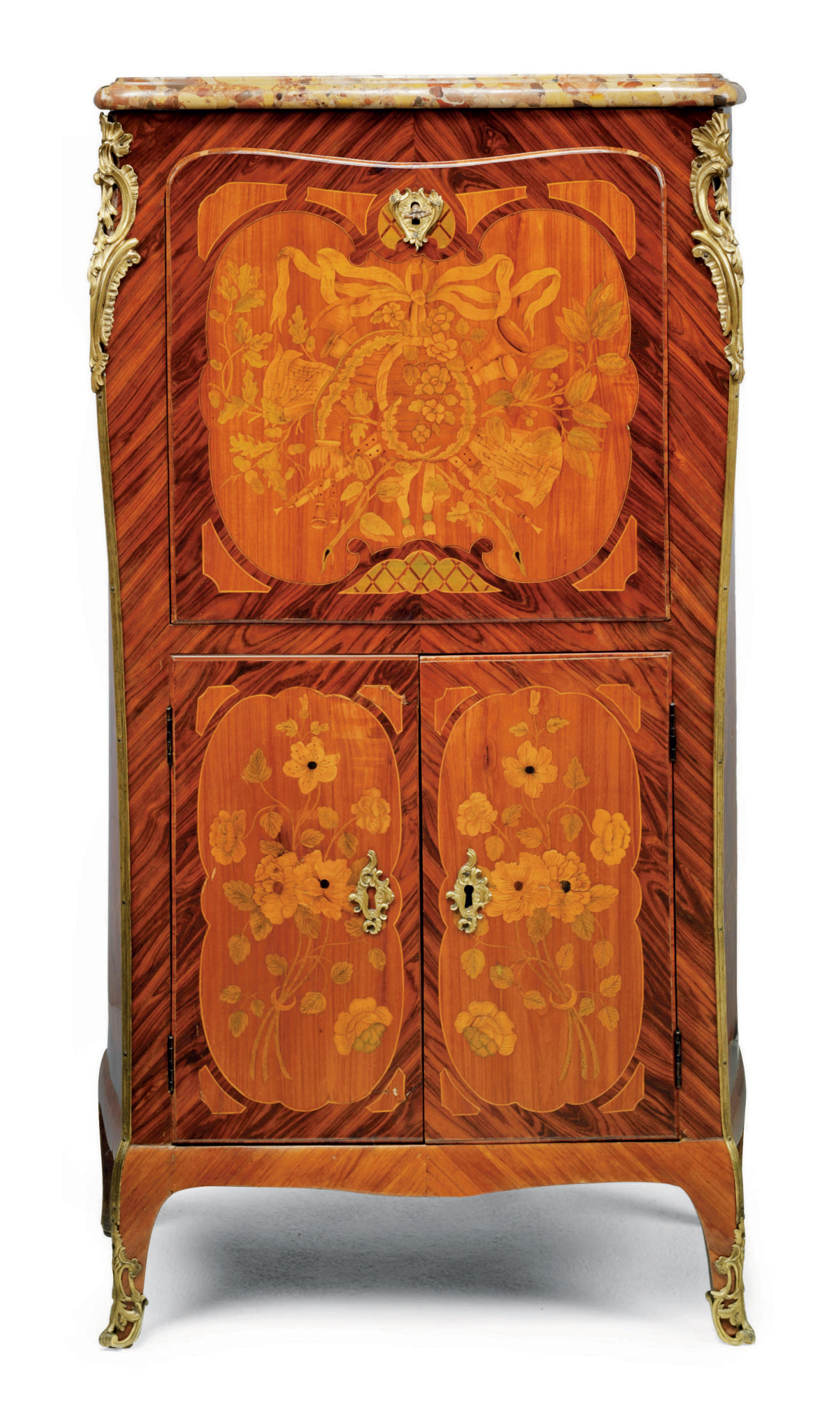 A LOUIS XV KINGWOOD, TULIPWOOD AND FRUITWOOD MARQUETRY SECRETAIRE A ABATTANT