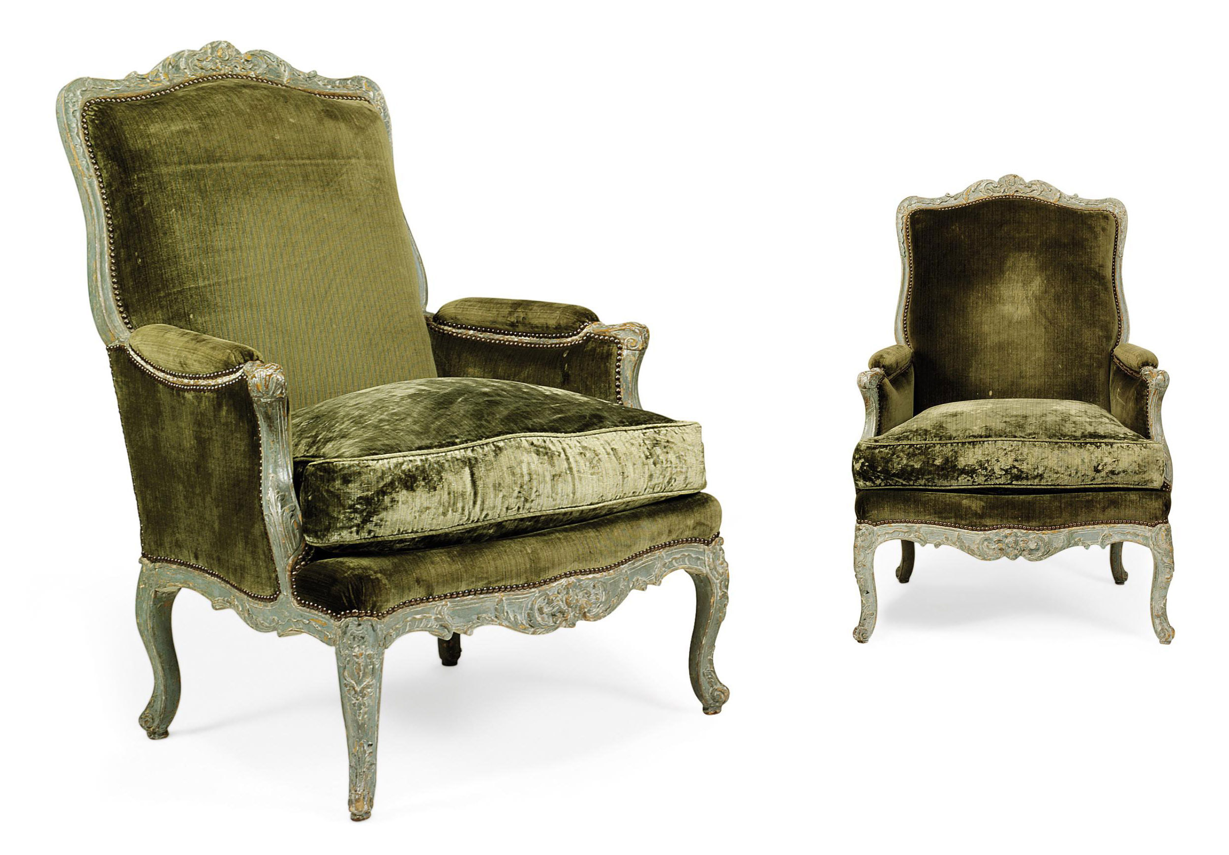 A PAIR OF LOUIS XV PAINTED BERGERES