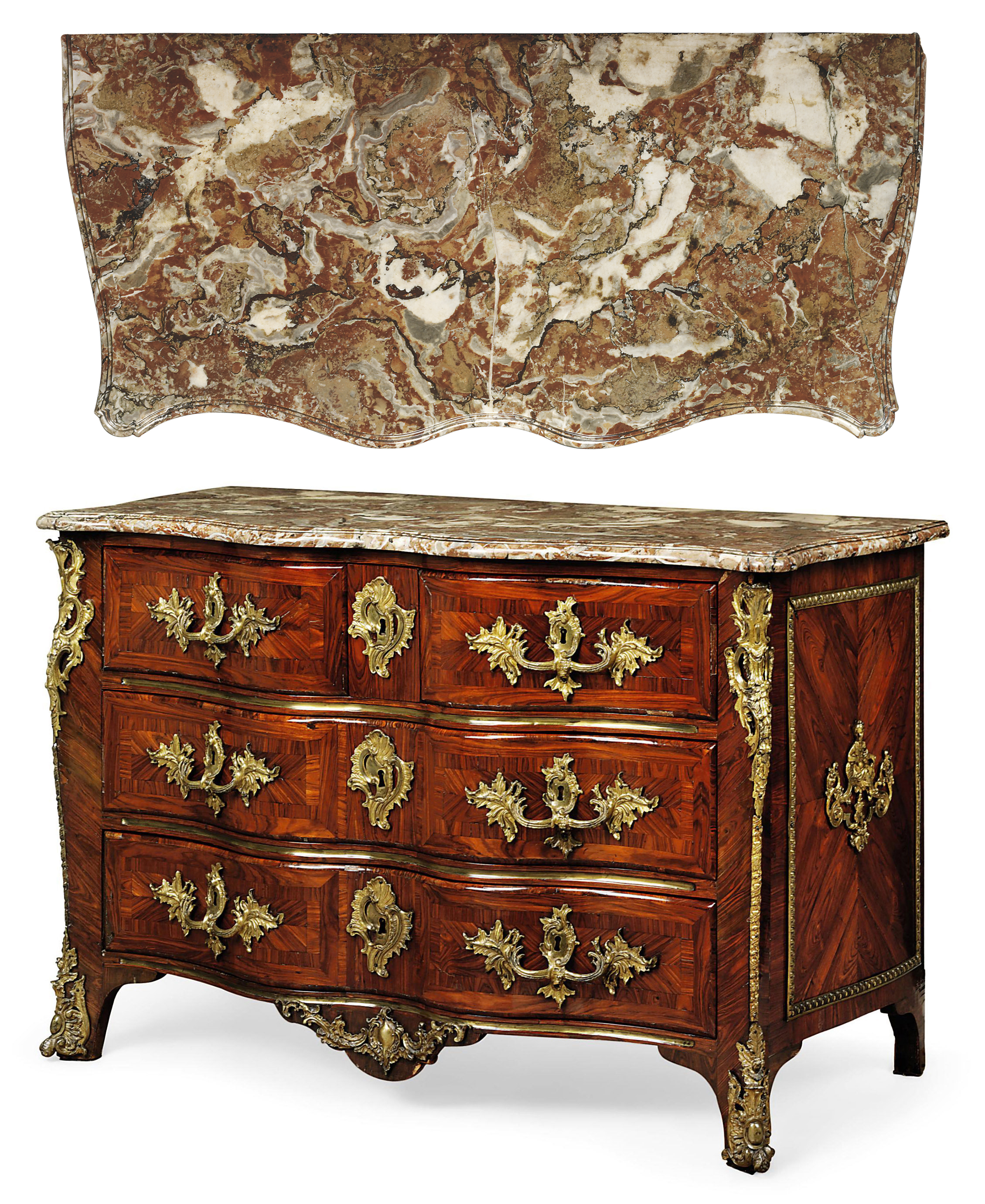 A LOUIS XV ORMOLU-MOUNTED KINGWOOD AND PARQUETRY COMMODE