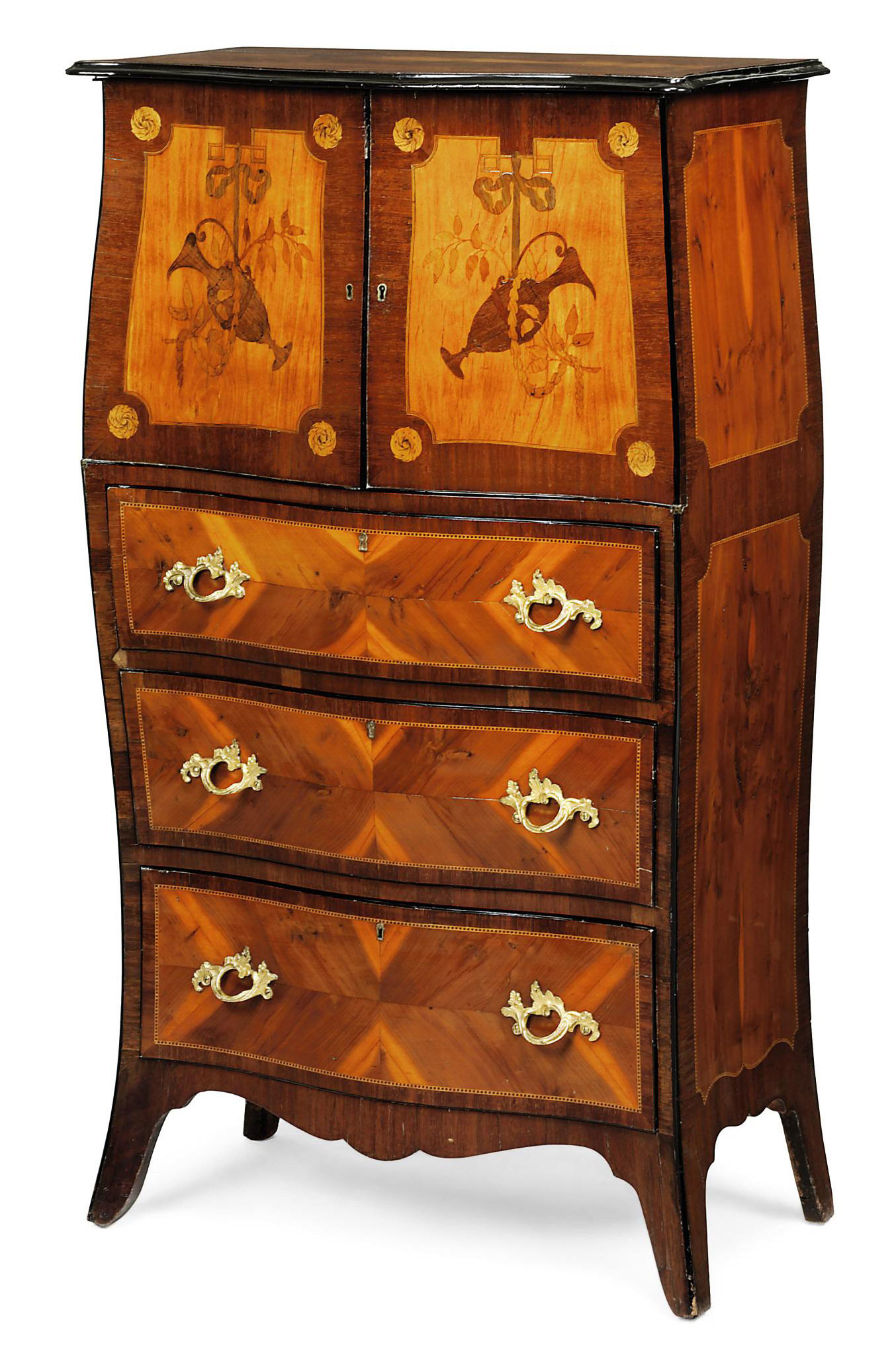 A GEORGE III ORMOLU-MOUNTED BURR-YEW, AMARANTH AND MARQUETRY BOMBE SECRETAIRE-CABINET