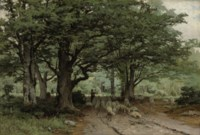 A shepherdess and her flock in a forest