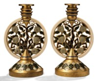 A Pair of Gilt Bronze, Enamel and Ivory Candlesticks