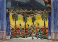 A set design for Petrushka: Scene III, the Moor's room