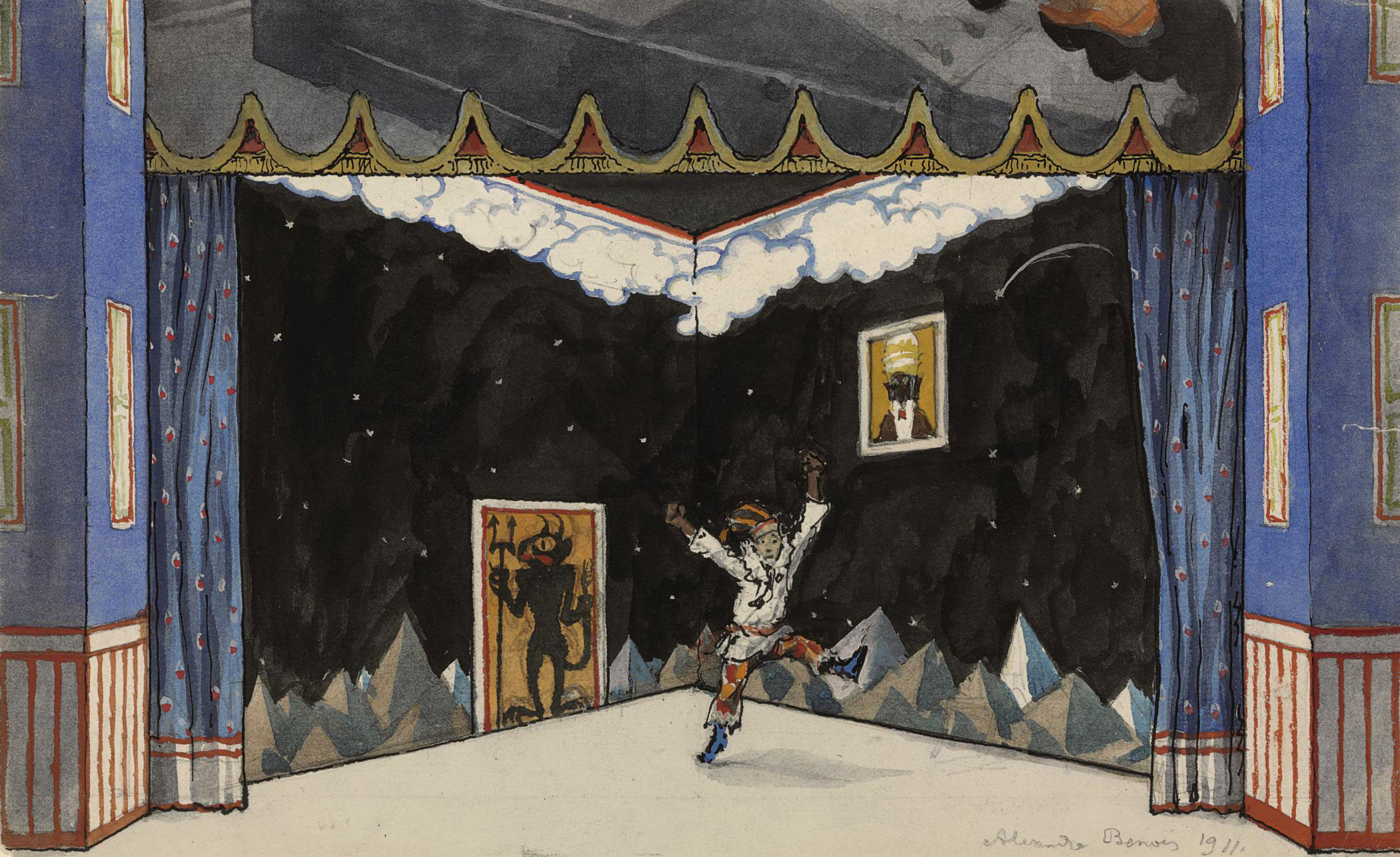 A set design for Petrushka: Scene II, Petrushka's room