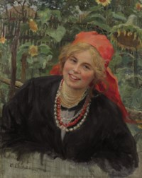 Peasant girl in red kerchief