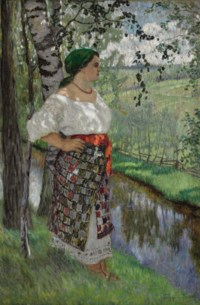 Peasant woman by a brook
