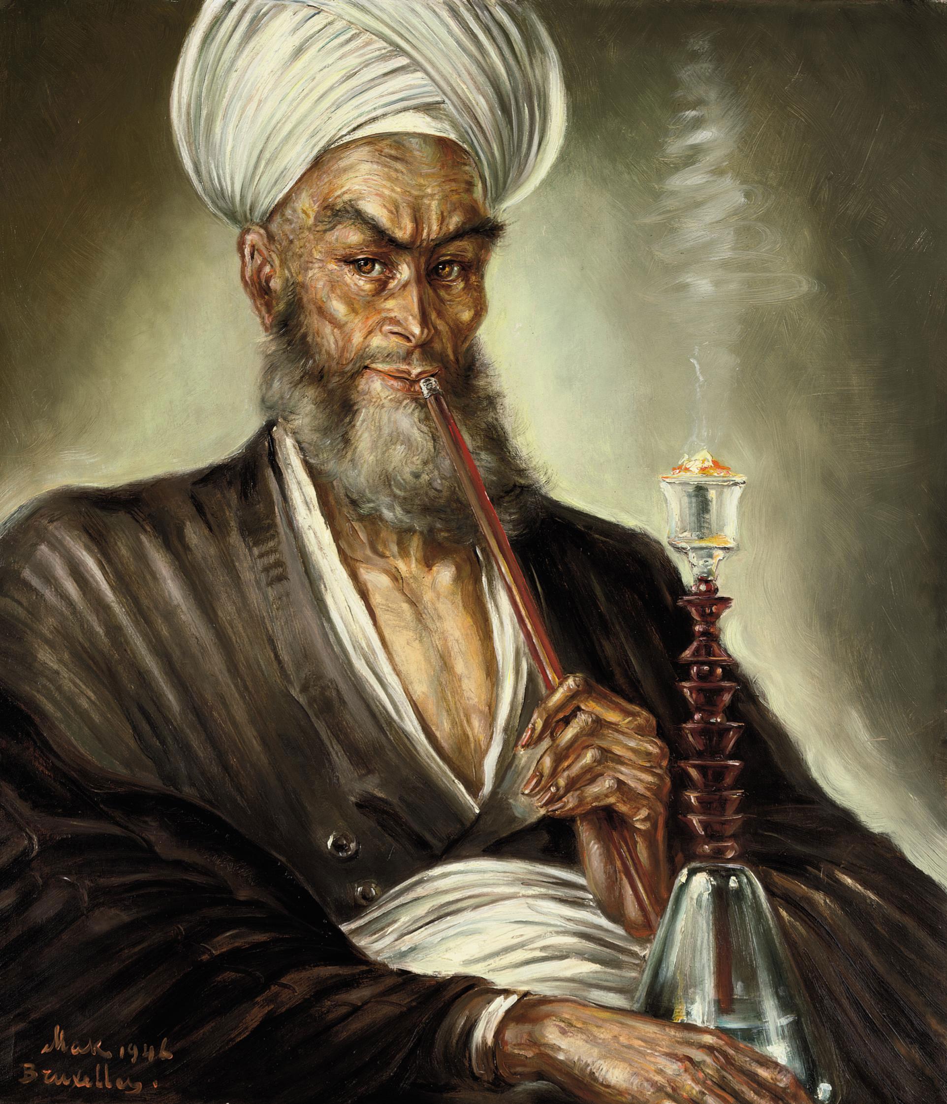 An elder smoking a kalian