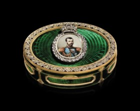 A Rare and Important Jewelled Gold and Guilloché Enamelled I