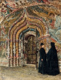 Entrance door to the Ipatief Cathedral at Kostroma