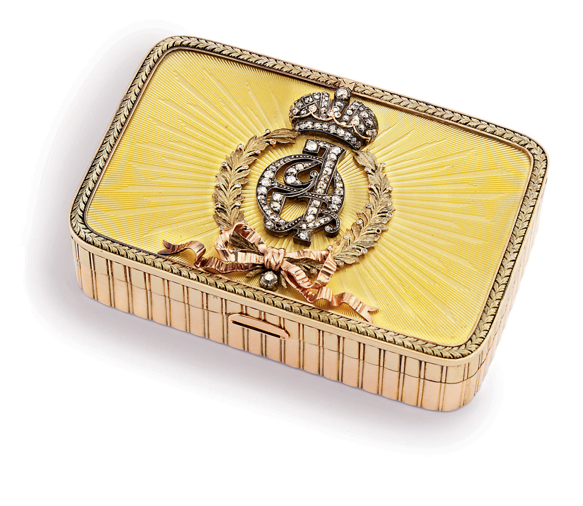 A Jewelled Two-Colour Gold-Mounted Guilloché Enamel Presentation Box
