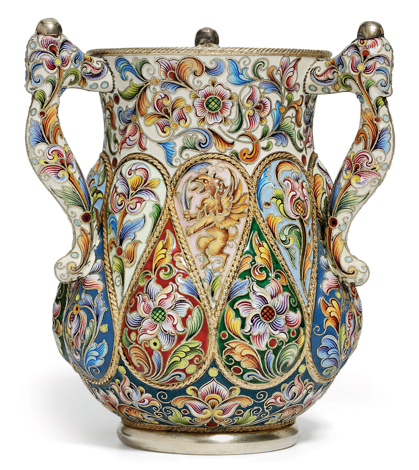 A Silver-Gilt and Cloisonné Enamel Three-Handled Cup