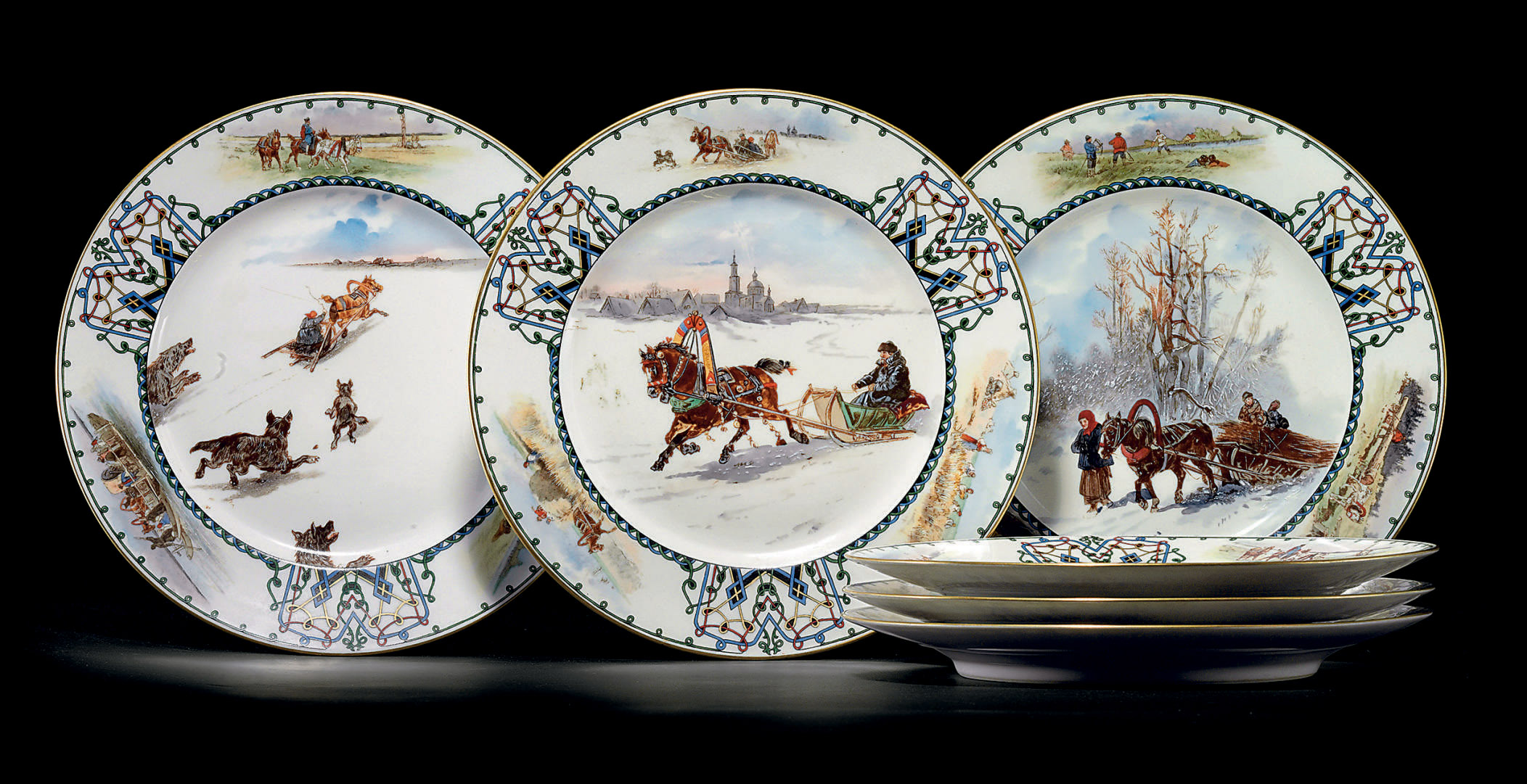 A Set of Six Porcelain Plates