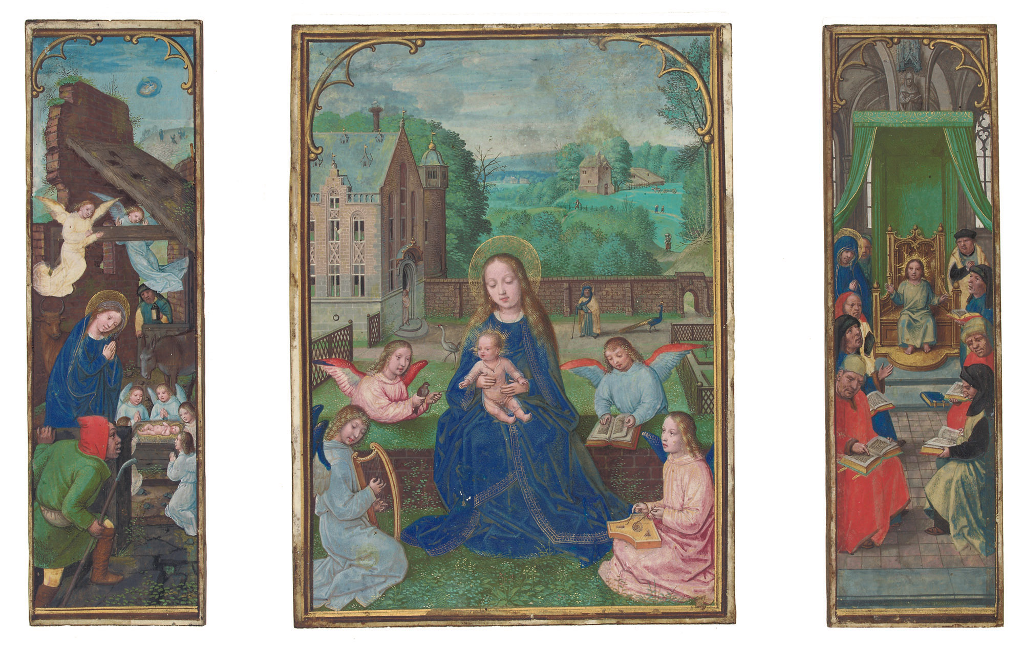 SIMON BENING (1483/84-1561): THE VIRGIN AND CHILD IN A GARDEN between THE NATIVITY and CHRIST AMONG THE DOCTORS, ILLUMINATED TRIPTYCH ON VELLUM ON WOODEN PANELS
