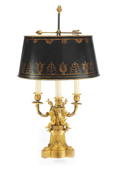 AN EMPIRE ORMOLU AND TOLE LAMP
