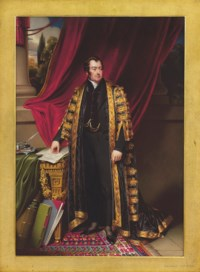 John Charles Spencer, Viscount Althorp, 3rd Earl Spencer (1782-1845), as Chancellor of the Exchequer, full length in Chancellor's robes over black mourning suit, standing beside a George II giltwood console table from Spencer House draped with green cloth, his right hand resting on a document entitled 'Amendment of the Poor Laws', large leather-bound books and folio propped against table leg, inkwell, salt cellar and quill on silver stand on table, red curtain, pillar and curtain interior; landscape background